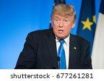 paris  france   july 13  2017   ...   Shutterstock . vector #677261281