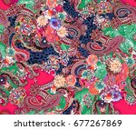 multicolor flowers and paisley... | Shutterstock . vector #677267869