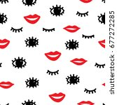 seamless fashion pattern. red... | Shutterstock .eps vector #677272285