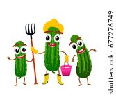 funny cucumber character ... | Shutterstock .eps vector #677276749