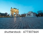 l'arco della pace  the arch of... | Shutterstock . vector #677307664