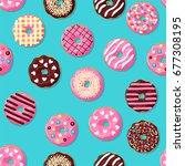 donut seamless pattern. pink ...   Shutterstock .eps vector #677308195