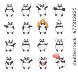 set of cute panda character... | Shutterstock . vector #677313625