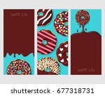 set of three posters  donut... | Shutterstock .eps vector #677318731