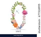 floral watercolor alphabet.... | Shutterstock .eps vector #677318995