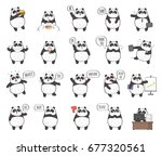 set of cute panda character... | Shutterstock . vector #677320561