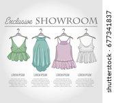 color showroom set of woman... | Shutterstock .eps vector #677341837