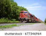 red freight train | Shutterstock . vector #677346964