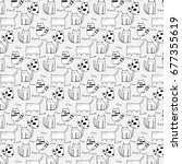 cute cat hand drawn vector...   Shutterstock .eps vector #677355619