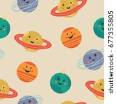 cute seamless pattern with... | Shutterstock .eps vector #677355805
