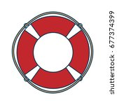 red rescue wheel with rope ... | Shutterstock .eps vector #677374399