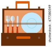 portable picnic bag hamper flat ...   Shutterstock .eps vector #677380549
