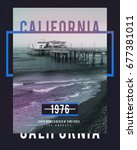 photo print california beach... | Shutterstock . vector #677381011