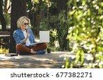 happy beautiful woman  girl... | Shutterstock . vector #677382271