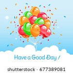 flying in the sky balloons with ...   Shutterstock .eps vector #677389081