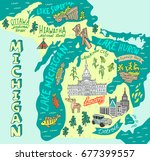 Illustrated map of the state of Michigan, USA. Travel and attractions