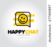happy chat with emoticon smile... | Shutterstock .eps vector #677404897