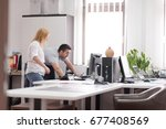 young designers in the creative ... | Shutterstock . vector #677408569