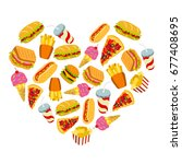 set of fast food icons in heart ... | Shutterstock .eps vector #677408695