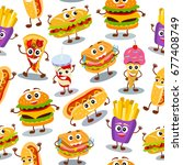 funny  cute fast food with... | Shutterstock .eps vector #677408749