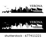verona skyline   italy   vector ... | Shutterstock .eps vector #677411221