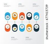business colorful outline icons ... | Shutterstock .eps vector #677415739
