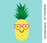 pineapple with glasses in the... | Shutterstock .eps vector #677423035