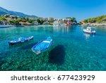 beautiful boat in assos in... | Shutterstock . vector #677423929