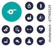 set of 12 fitness icons set