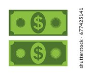 set of two dollar banknotes.... | Shutterstock .eps vector #677425141