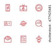 set of 9 advertising outline... | Shutterstock .eps vector #677425681