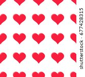 simple hearts seamless vector... | Shutterstock .eps vector #677428315