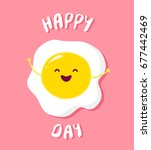 cartoon fried egg raises hands... | Shutterstock .eps vector #677442469
