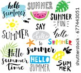 hand lettering summer set | Shutterstock .eps vector #677443051