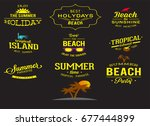 different retro holiday... | Shutterstock .eps vector #677444899