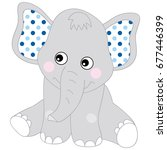 Cute Baby Elephant. Vector...