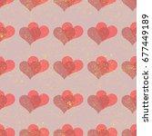 simple hearts seamless vector... | Shutterstock .eps vector #677449189