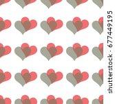 simple hearts seamless vector... | Shutterstock .eps vector #677449195