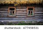 a classic russian log cabin... | Shutterstock . vector #677458531