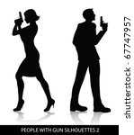 people with gun silhouettes | Shutterstock .eps vector #67747957