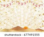 lantern and gold leaf background | Shutterstock .eps vector #677491555
