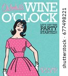 wine o clock retro party... | Shutterstock .eps vector #677498221