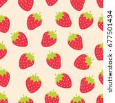 cute strawberry seamless... | Shutterstock .eps vector #677501434