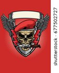 red military beret skull with... | Shutterstock .eps vector #677502727