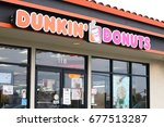 Small photo of Half Moon Bay, California – July 12, 2017: Dunkin' Donuts in Half Moon Bay roughly 11 month after the store opening here in August 2016 as part of their reentry to the Bay Area.