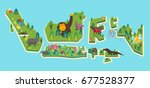 indonesia tourism map. vector... | Shutterstock .eps vector #677528377