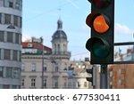 traffic light  yellow on the...   Shutterstock . vector #677530411