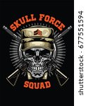 military skull design | Shutterstock .eps vector #677551594