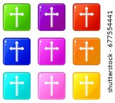 holy cross icons of 9 color set ... | Shutterstock .eps vector #677554441