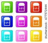 ring in a velvet box icons of 9 ... | Shutterstock .eps vector #677572444
